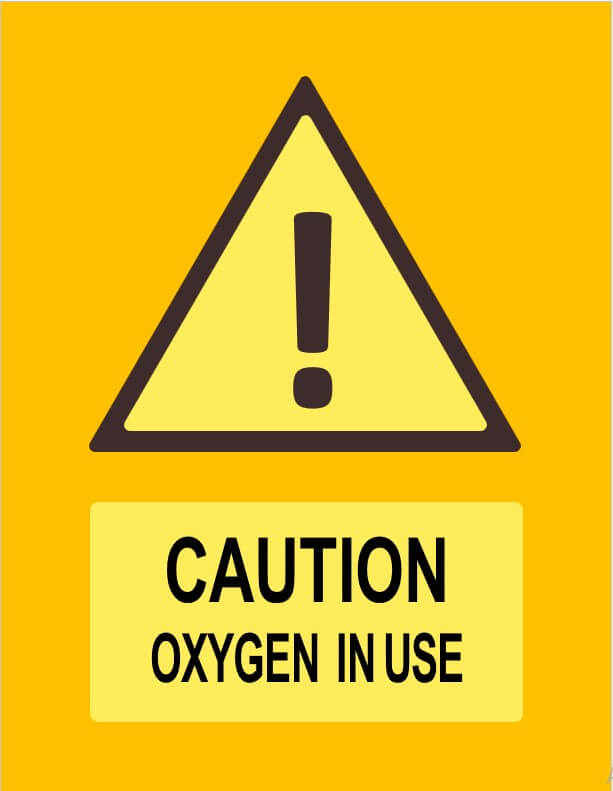 caution oxygen in use sign