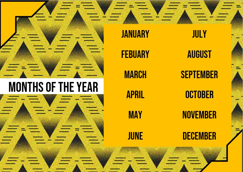 months of the year Example