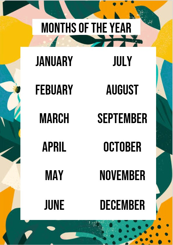 months of the year printable