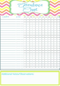Teacher Attendance Chart Printable   INSTANT & EDITABLE by Amber
