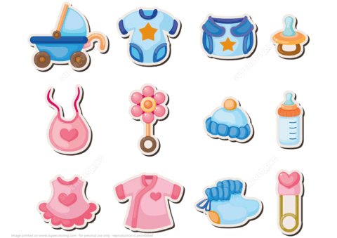 Printable Baby Shower Stickers | Free Printable Papercraft Templates