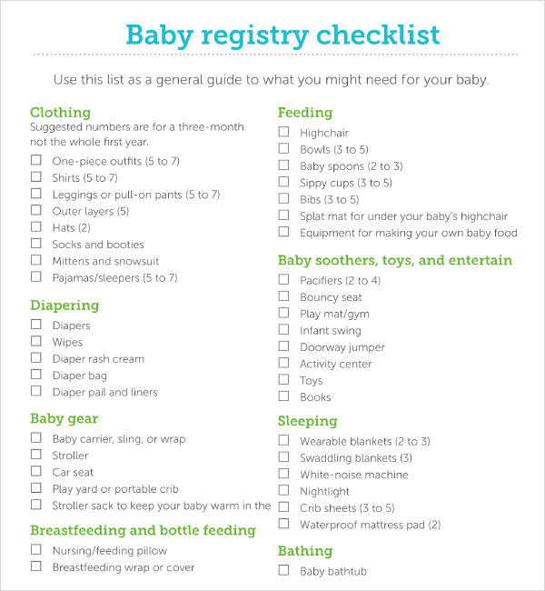 Baby Registry Checklist Printable Room Surf Com