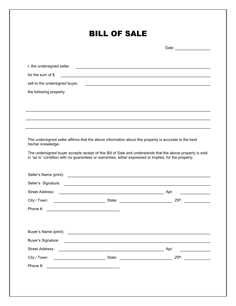 simple bill of sale form printable   zrom.tk