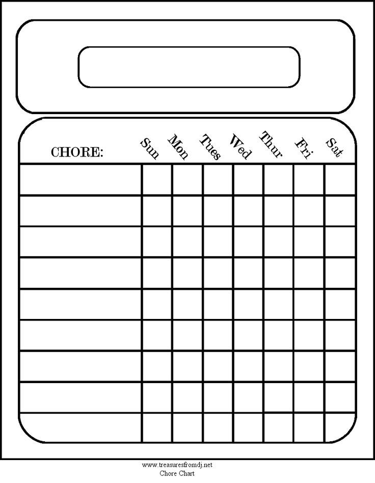image relating to Printable Chores Chart titled Blank Printable Chore Charts space