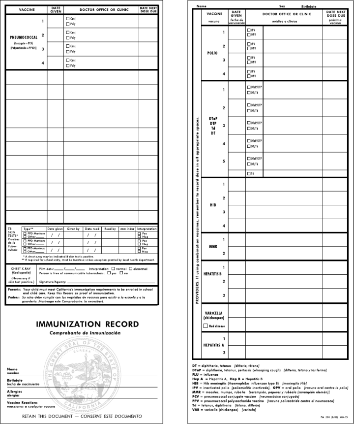 picture regarding Immunization Cards Printable referred to as California Immunization Card Printable space
