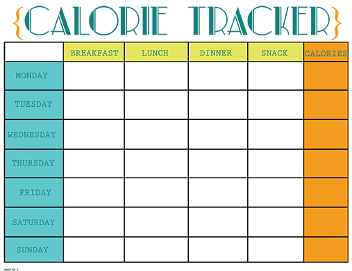 Printable Calorie Tracker Chart | free printable calorie counter
