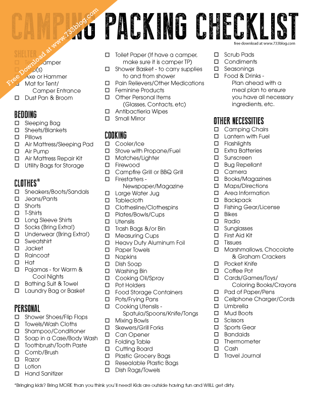 Camping Packing Checklist   Free Printable | *Ultimate Free