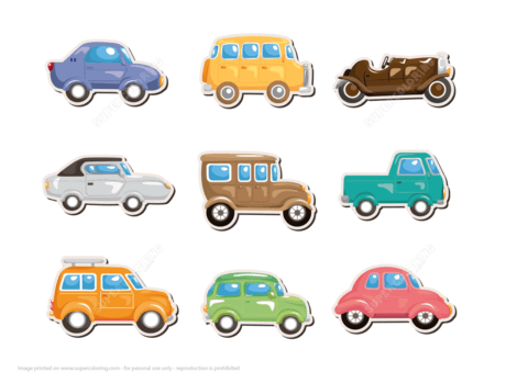Classic Car Printable Stickers | Free Printable Papercraft Templates