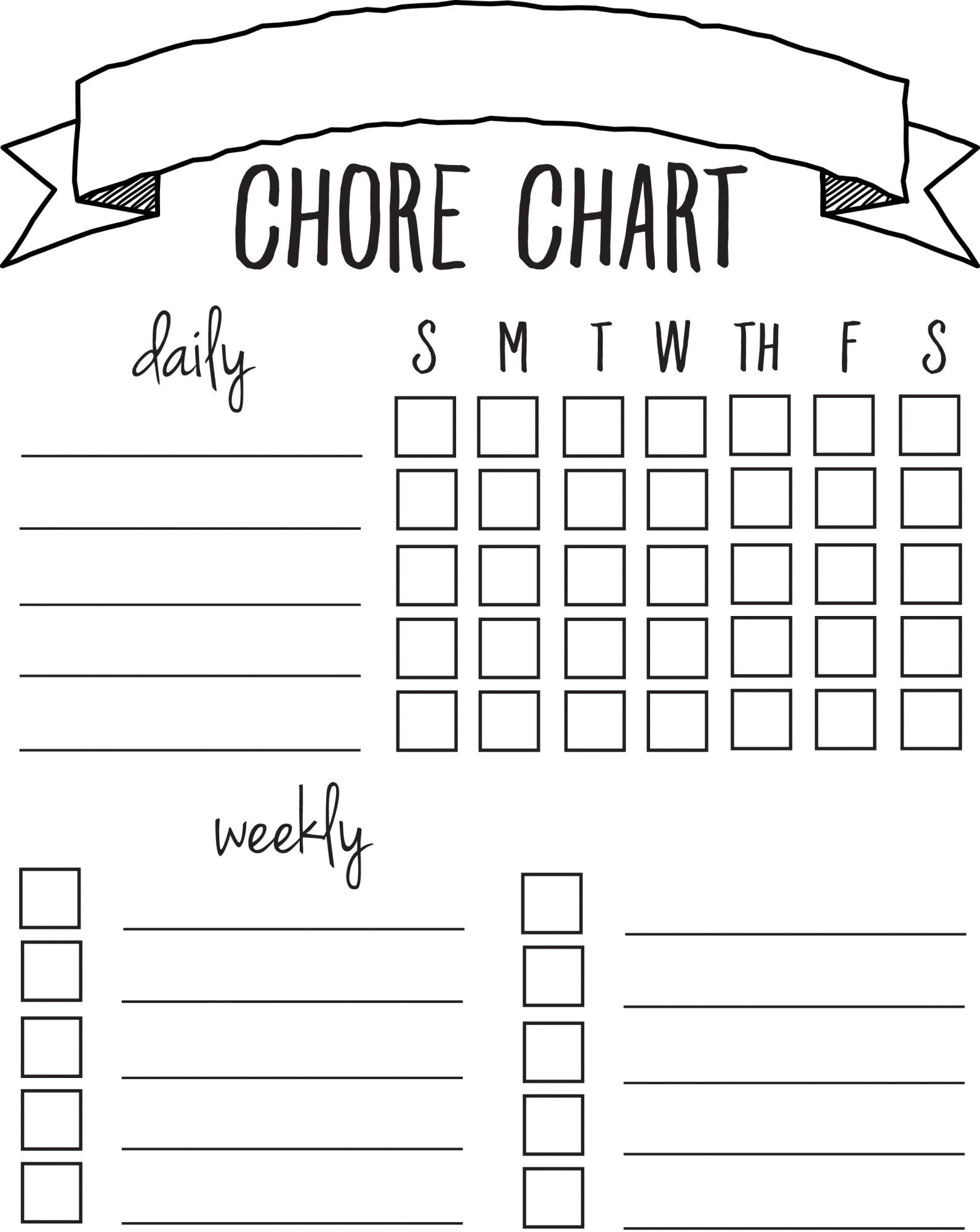 DIY Printable Chore Chart | free printables NOV/FEB | Pinterest