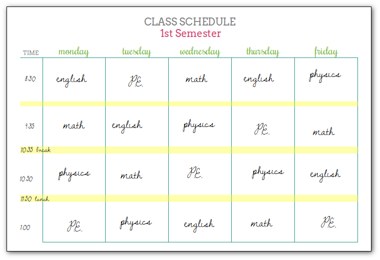 girlish class schedule example   Scattered Squirrel
