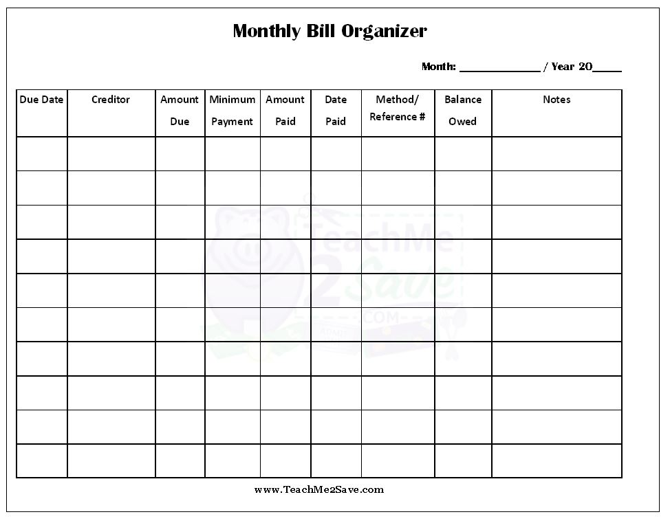 printable spreadsheet for bills   zrom.tk