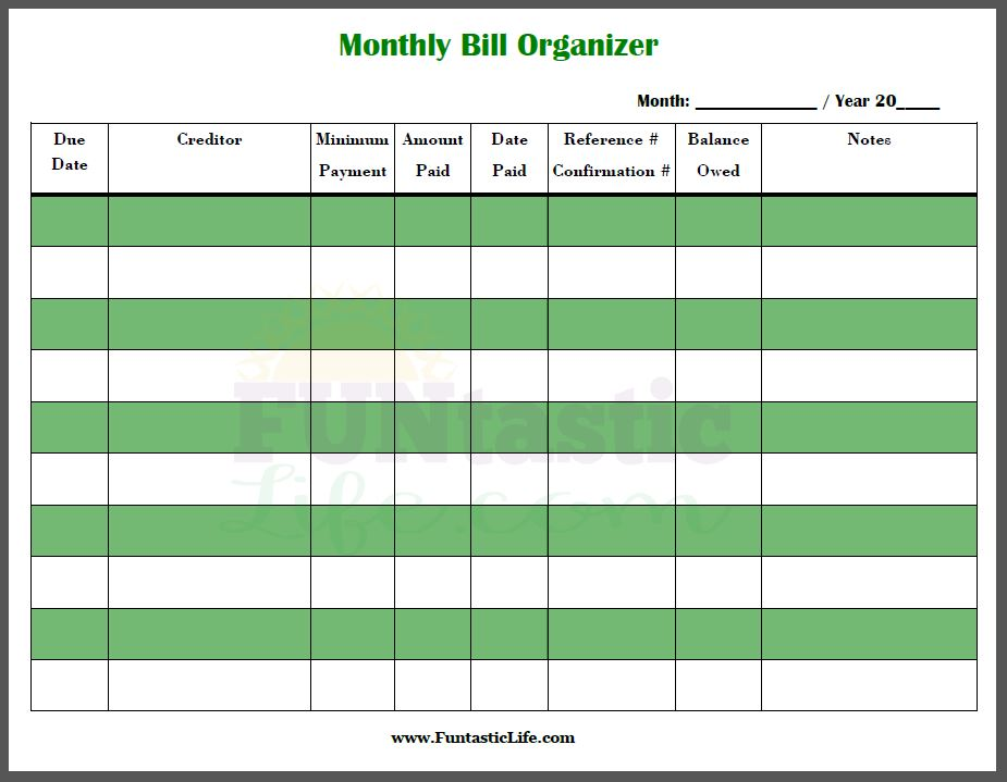 FREE Printable Monthly Bill Organizer   Funtastic Life