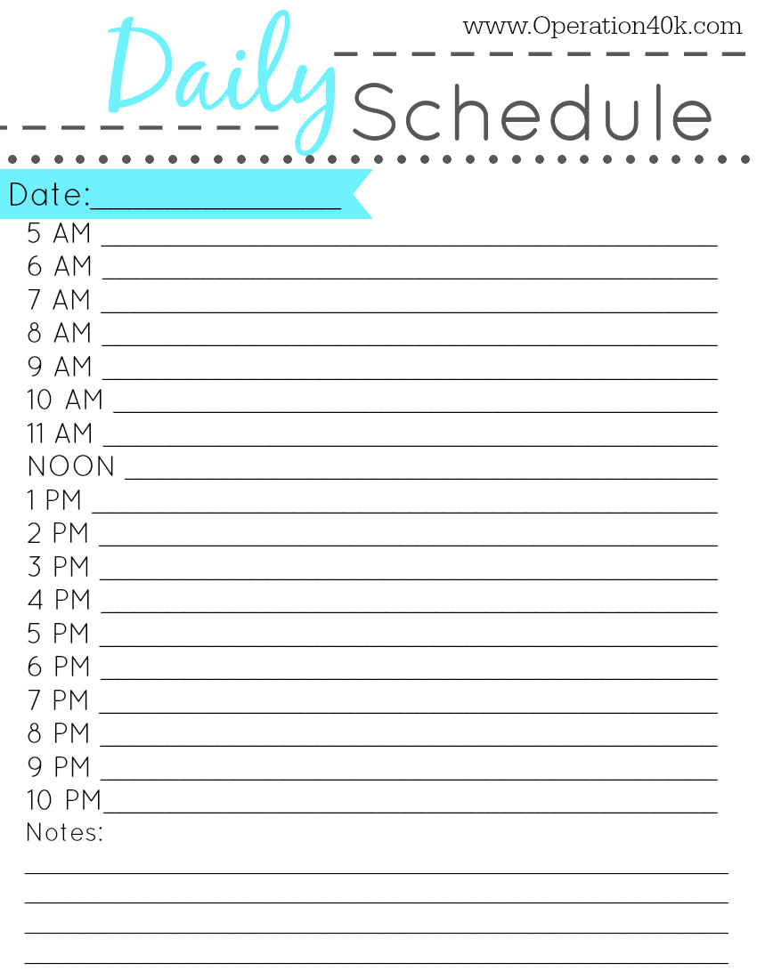 printable daily hourly schedule   zrom.tk