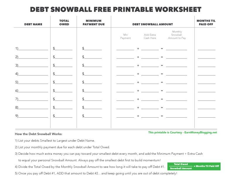 debt snowball free printable worksheet, free printable debt