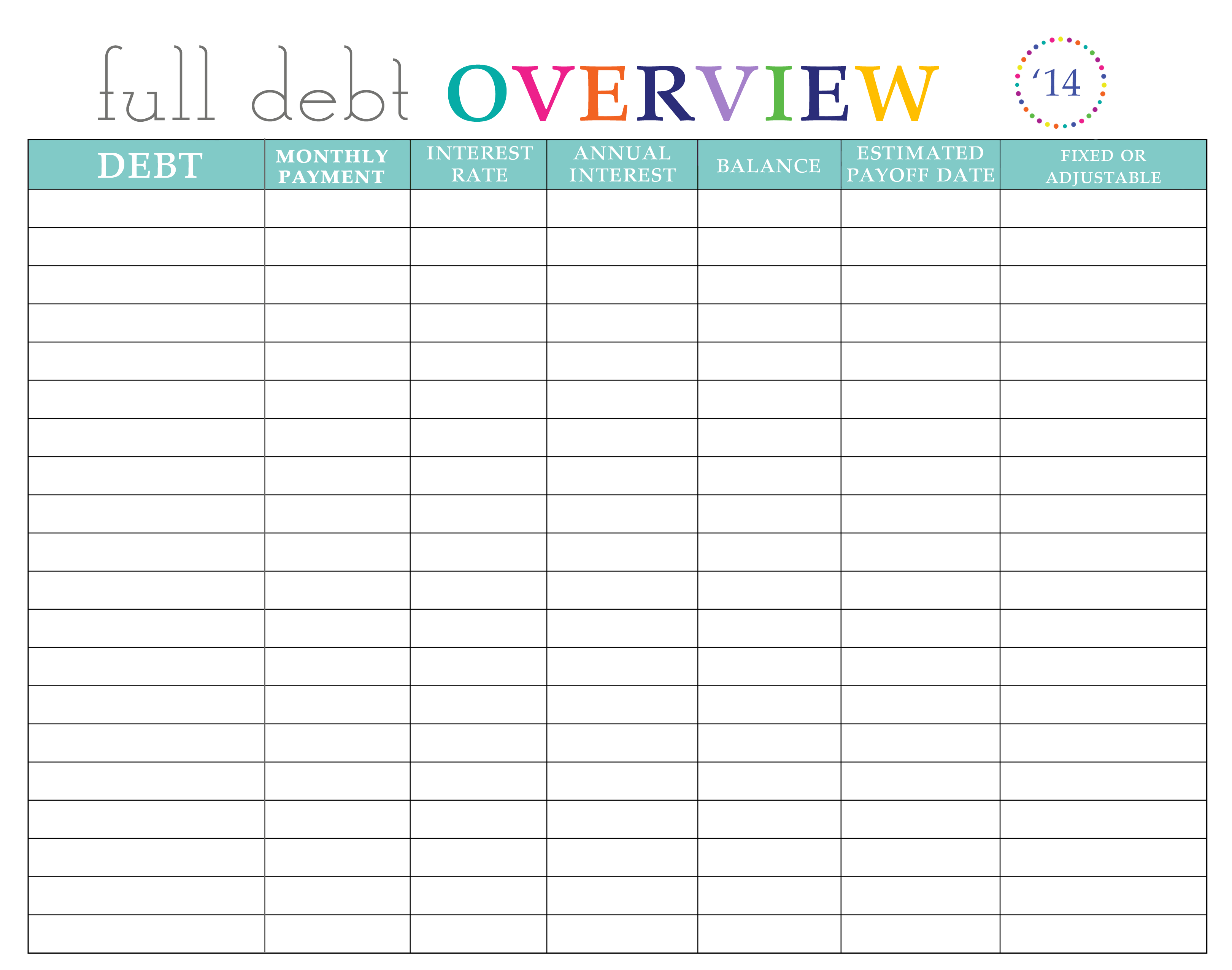 pay off debt worksheet   Yelom.agdiffusion.com