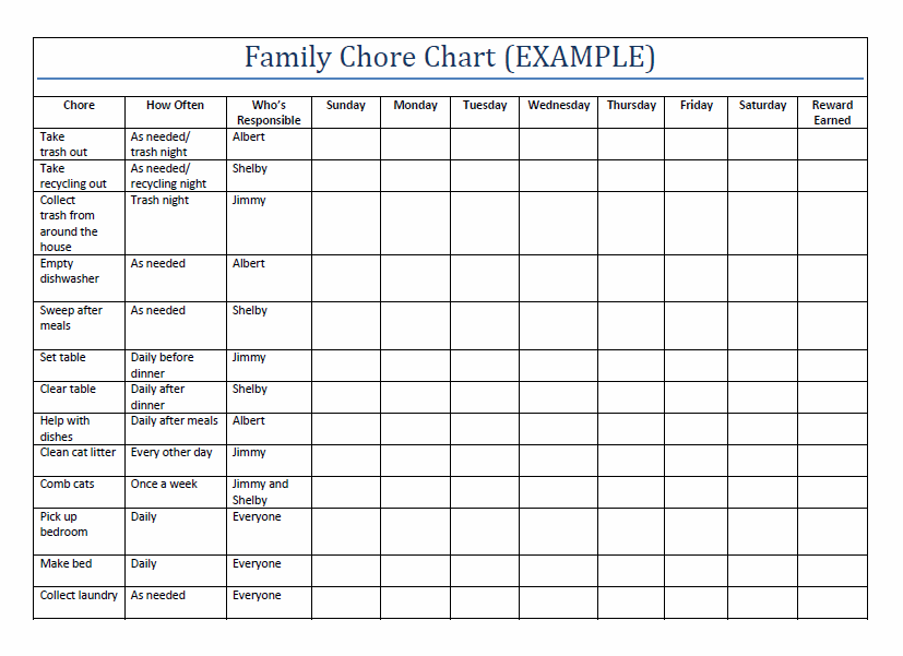 family chore chart printable