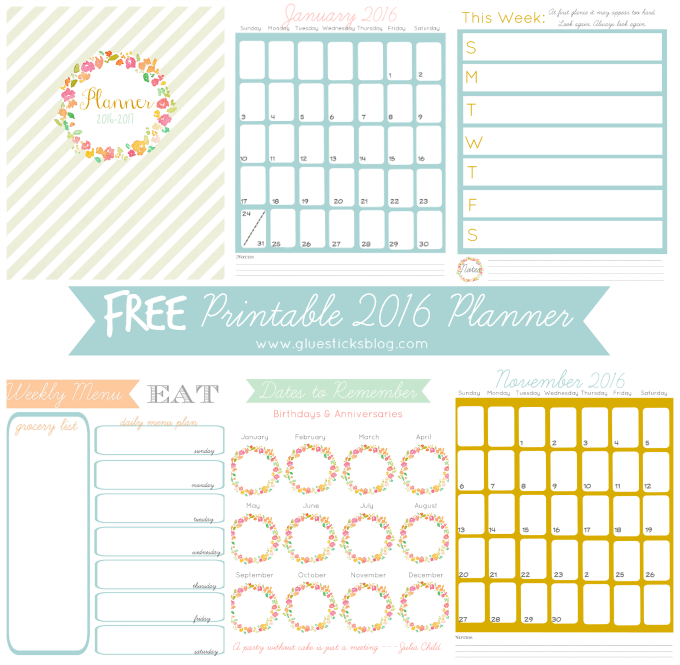 The MEGA List of FREE printable calendars and planners for 2016!