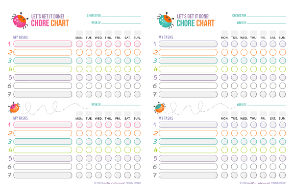 Free Printable Chore Charts for Kids | Fab N' Free