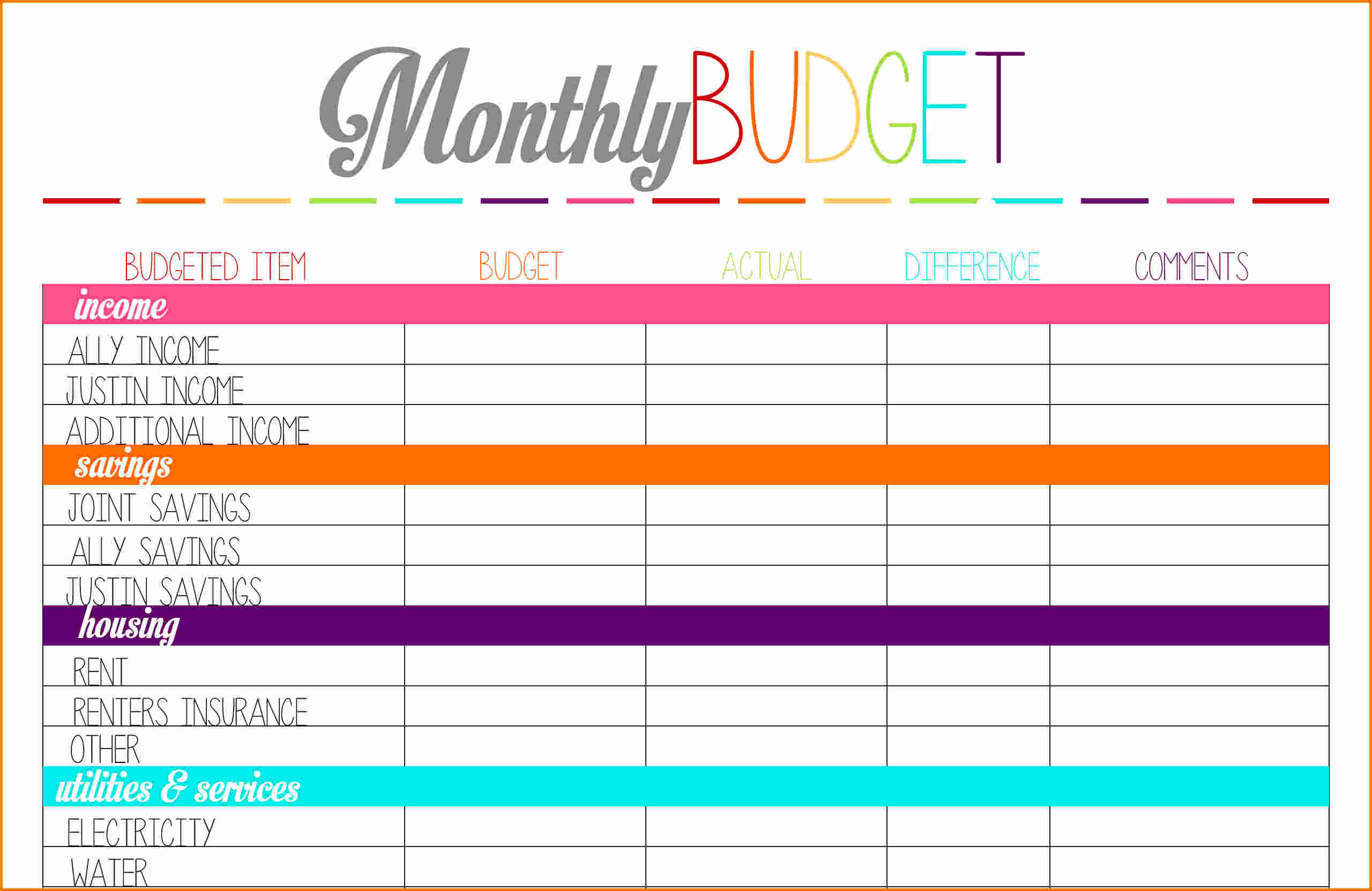 photograph regarding Printable Budget Template called Cost-free Printable Finances Planner place