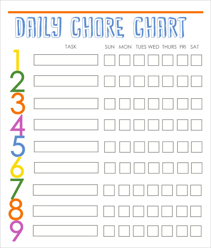 This is a picture of Sizzling Free Printable Chore Chart Templates