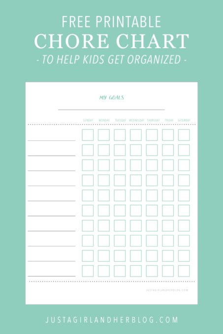 Free Printable Chore Charts to Help Kids Get Organized   Just a