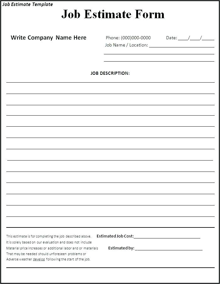 Free Printable Contractor Bid Forms Room Surf Com