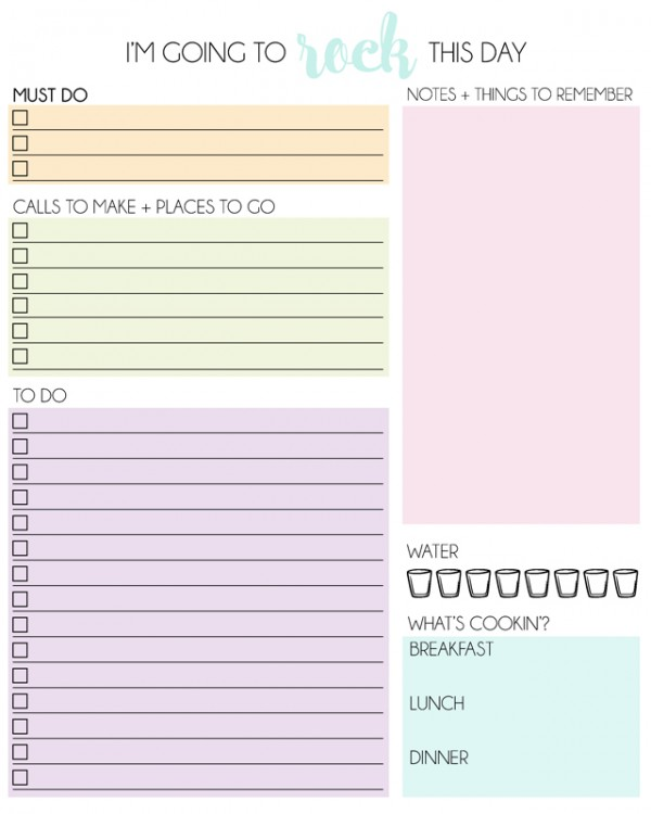 FREE Printable Daily Planner   Mrs Happy Homemaker