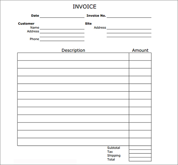 Printable Invoice Templates