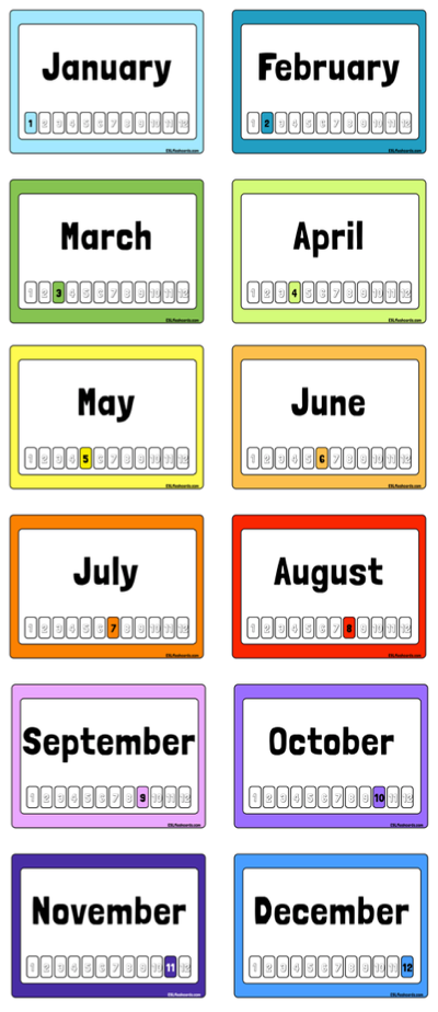 Free Printable Months of the Year Flashcards