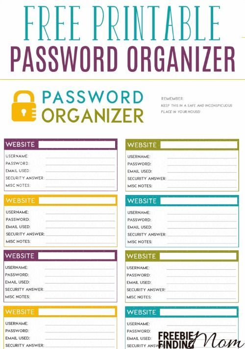 i should be mopping the floor: Free Printable Password Log