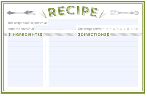 Free Recipe Template Photo In Green Forks   Cover Template
