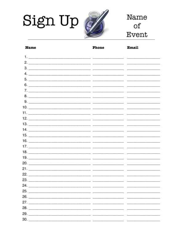 photograph relating to Free Printable Sign in Sheet referred to as Totally free Printable Signal Up Sheet area