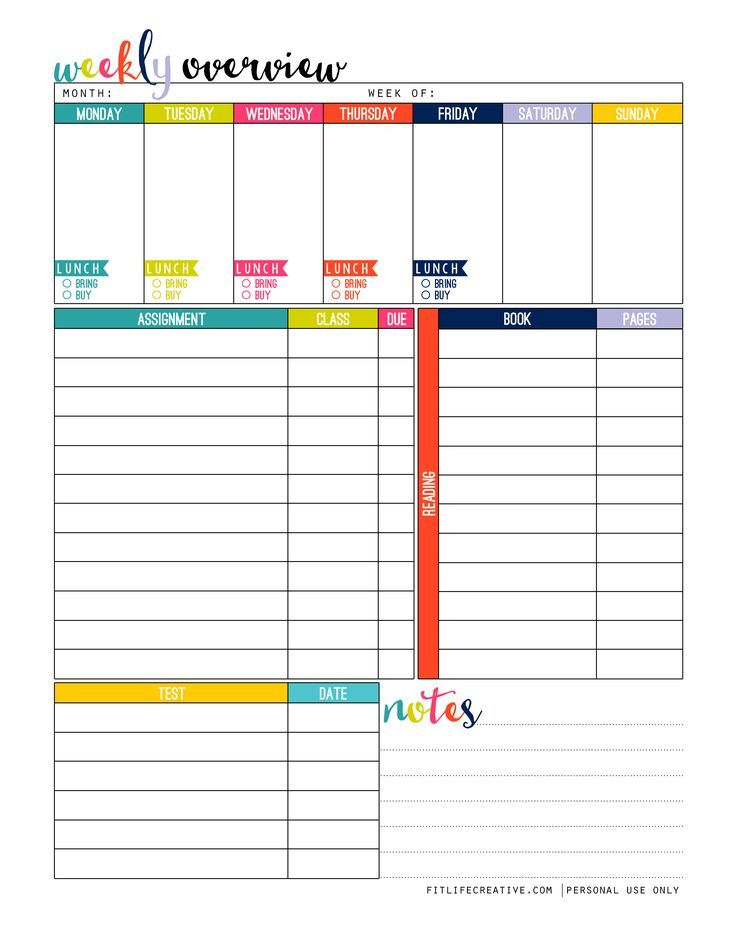 Student Planner printable free to download and use in your