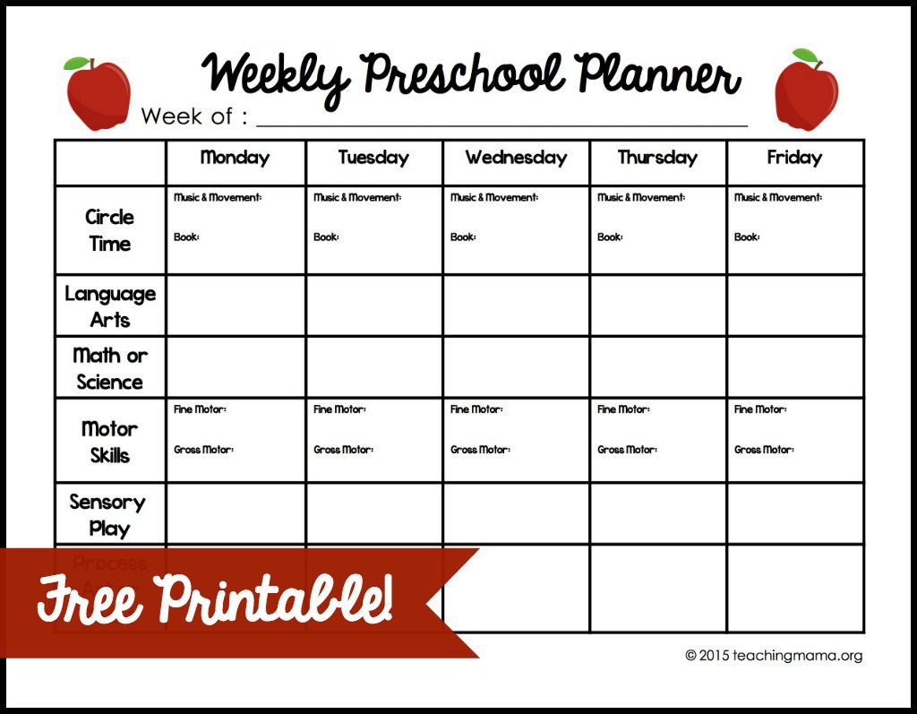 Weekly Lesson Plan Template for Preschool | Teacherplanet.com