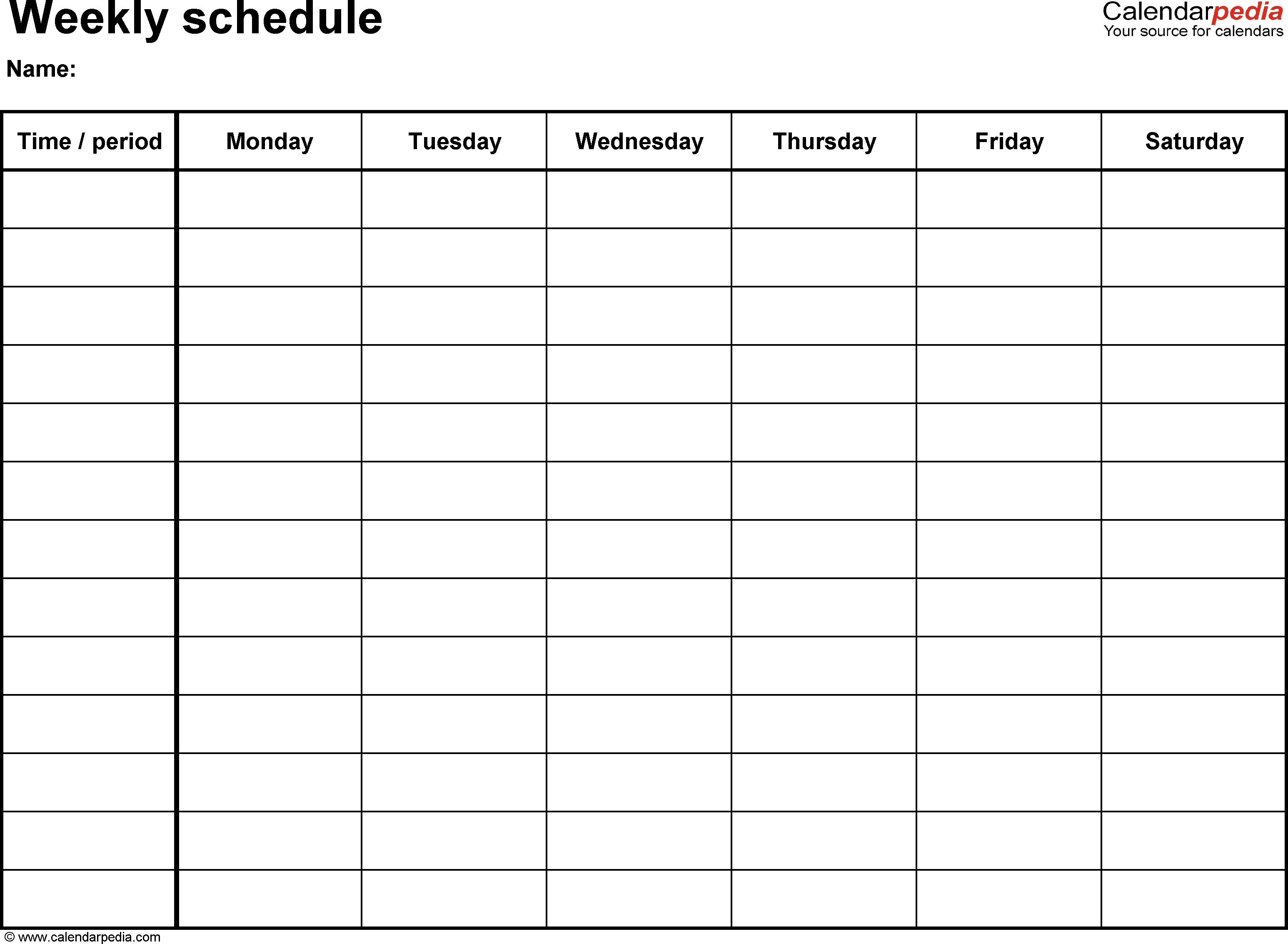 Schedule Template Weekly Hourly Schedule Template