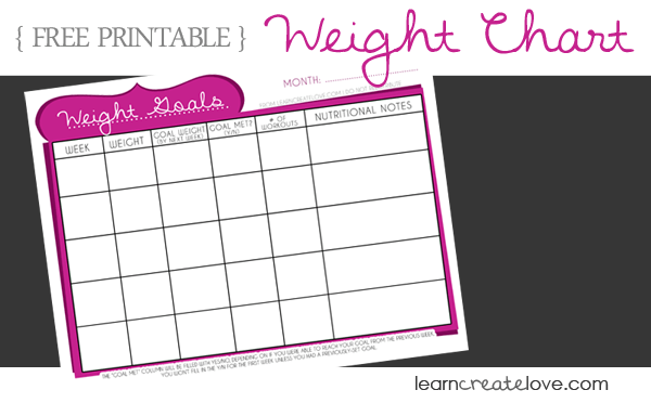 Printable Weight Chart | LearnCreateLove