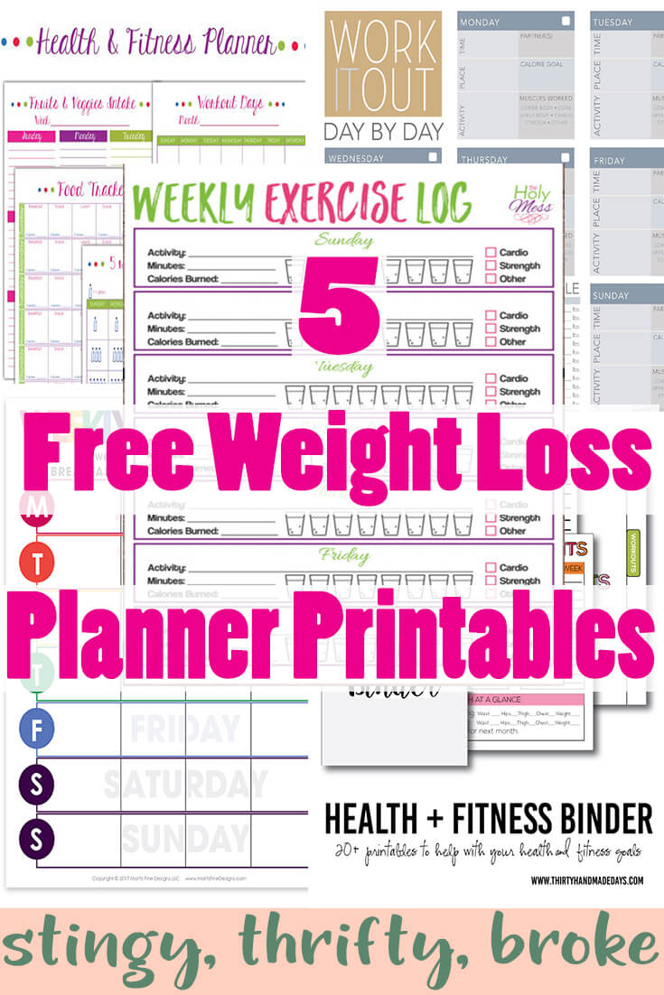 5 Free Weight Loss Planner Printables   Stingy, Thrifty, Broke