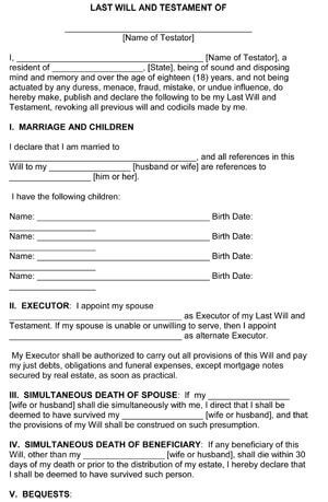 Last Will and Testament Template   Free Printable Form | 8ws
