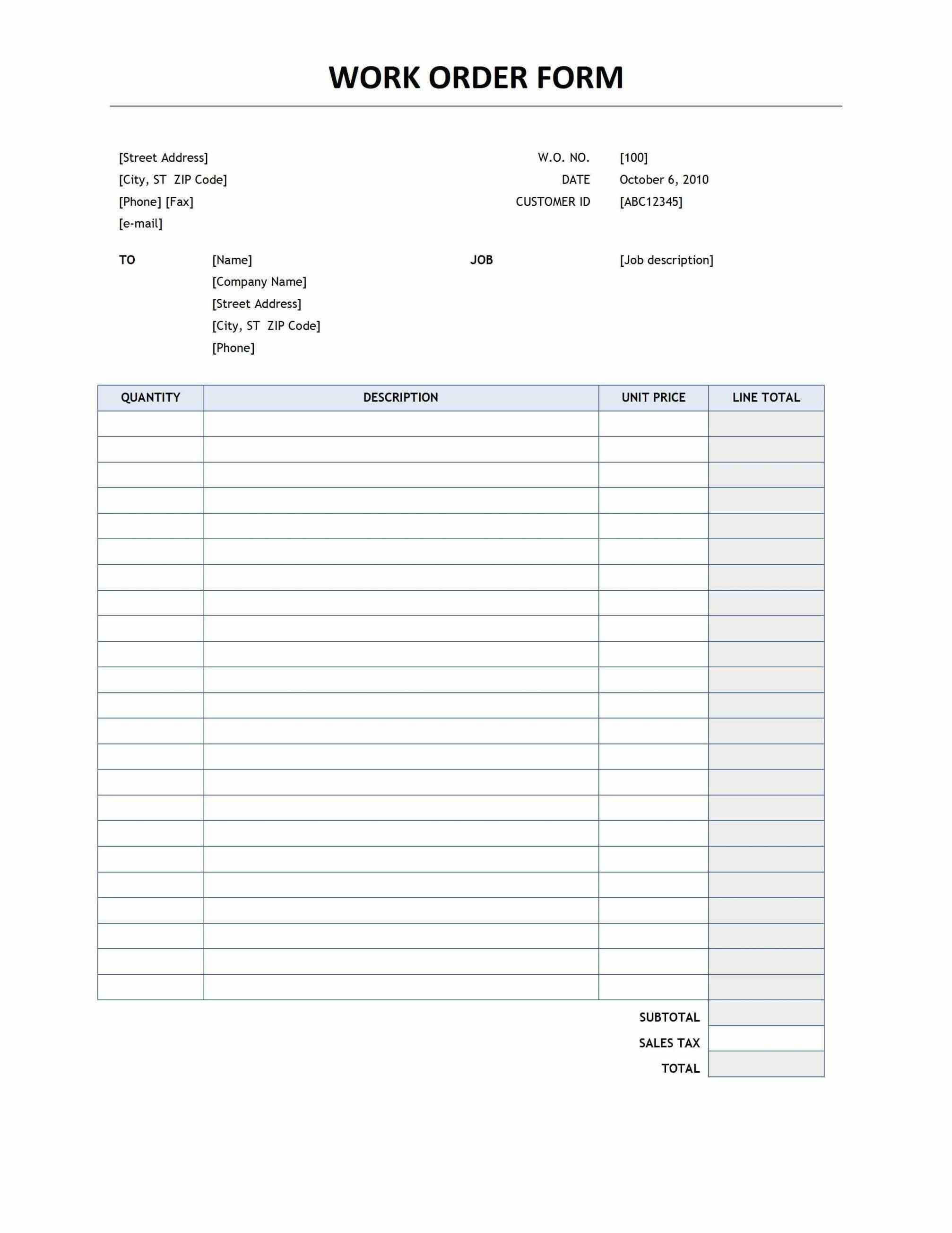photograph relating to Printable Order Form named Absolutely free Printable Operate Get Template area