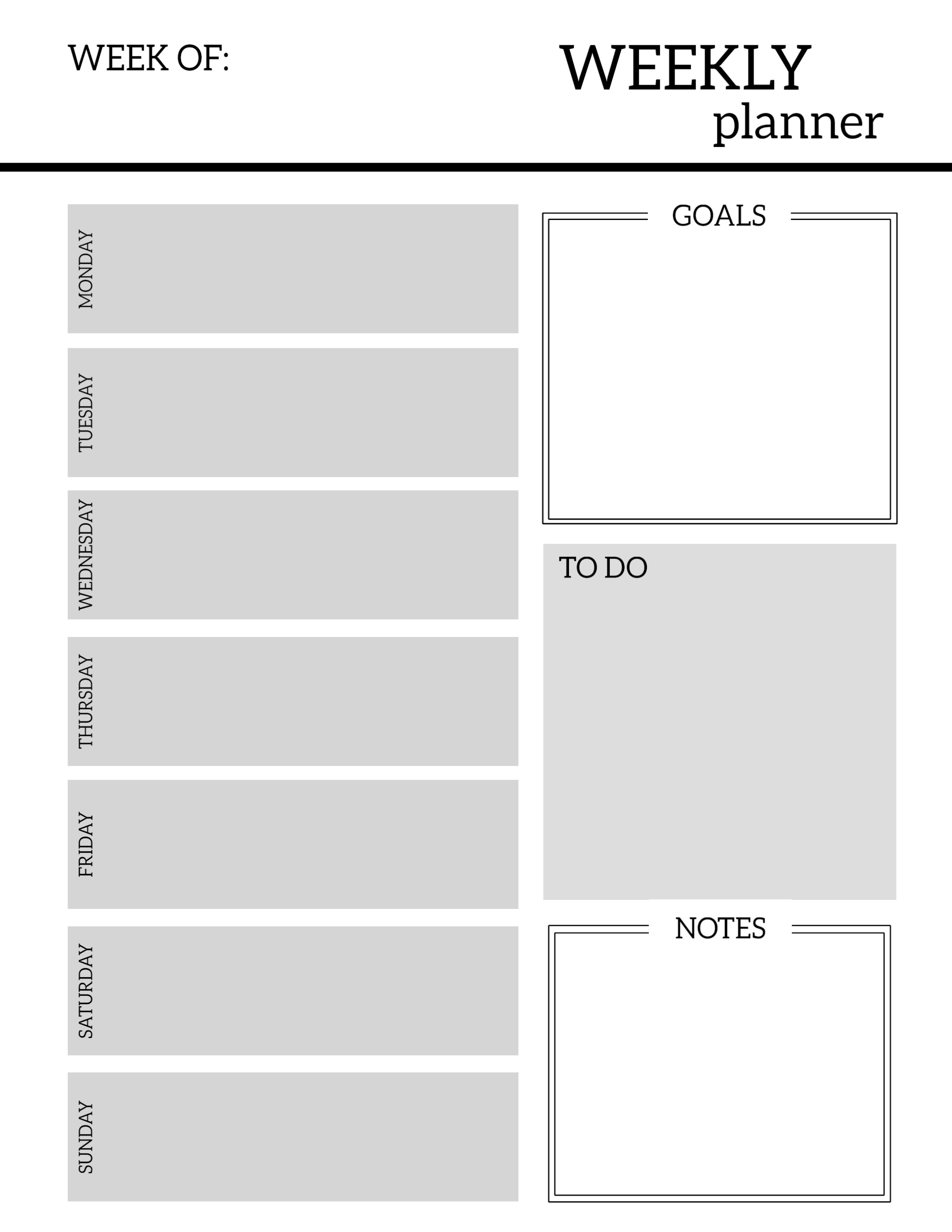 Free Printable Weekly Planner Pages   Paper Trail Design