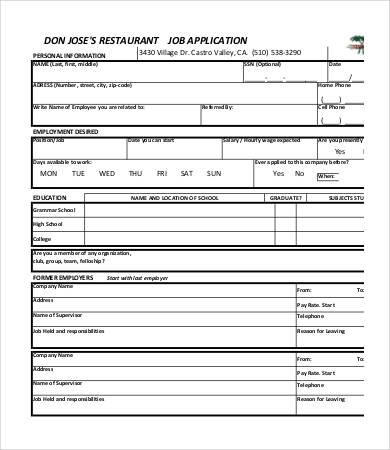 Printable Job Application Template   10+ Free Word, PDF Documents