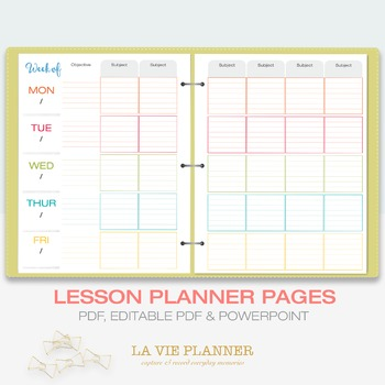 Weekly Lesson Planner | Printable | Class Schedule | Letter Sized
