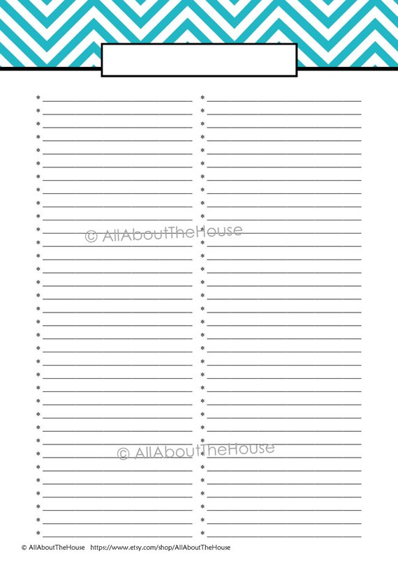 List Printable   fill in the topic at the top (blank line) and use