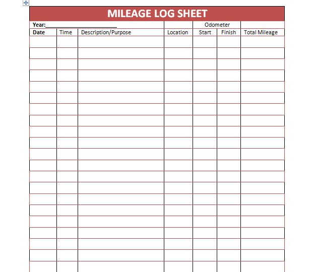 Printable Mileage Log Sheet Template | office | Pinterest
