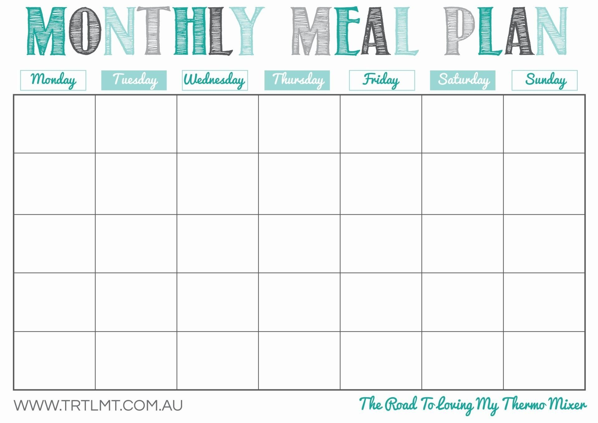 Monthly Meal Plan template printable. undated so you can use it