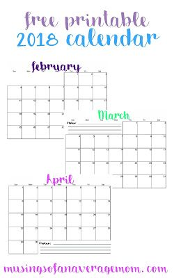 2018 Monthly Calendar | PRINTABLES | Pinterest | Calendar, Monthly