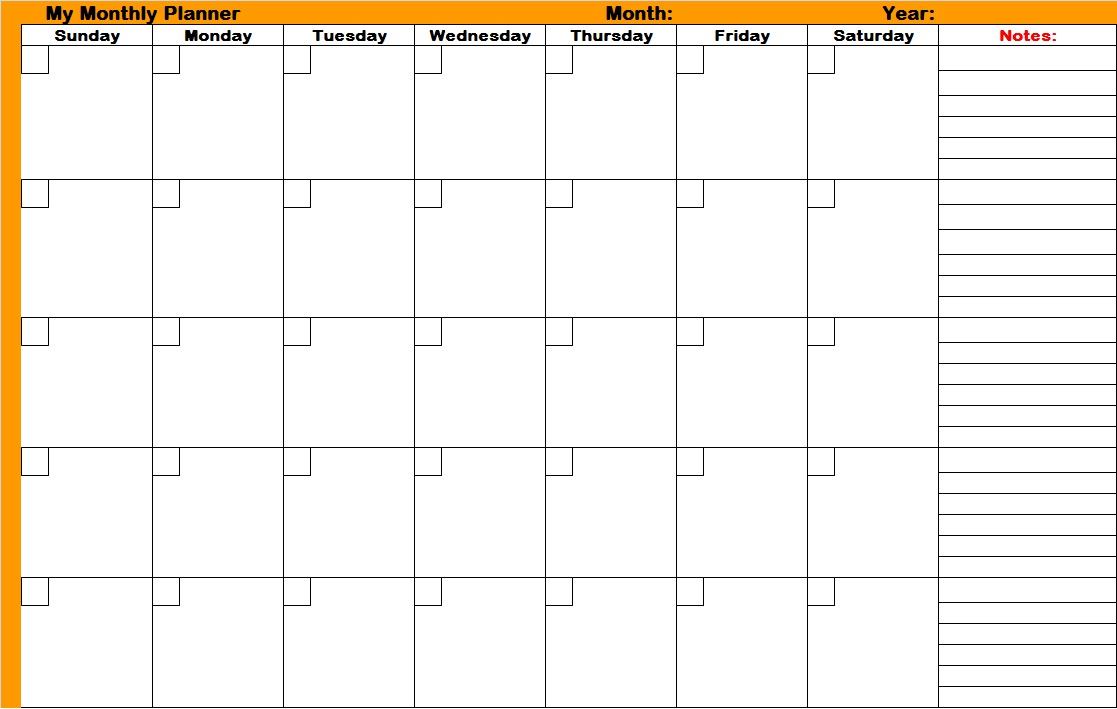 File:Monthly planners printable planners.   Wikimedia Commons