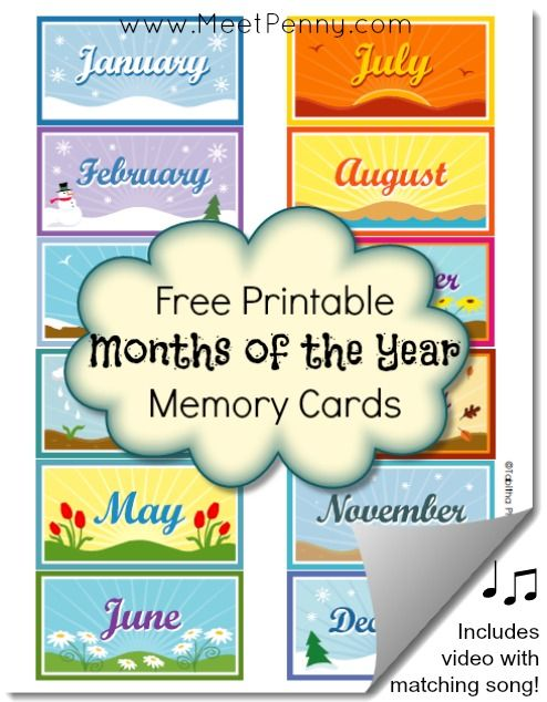Free Printable Months of the Year Memory Cards | Kid Blogger