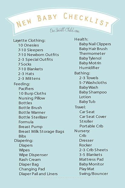 Free Printable New Baby Checklist from .OneSmallChild.