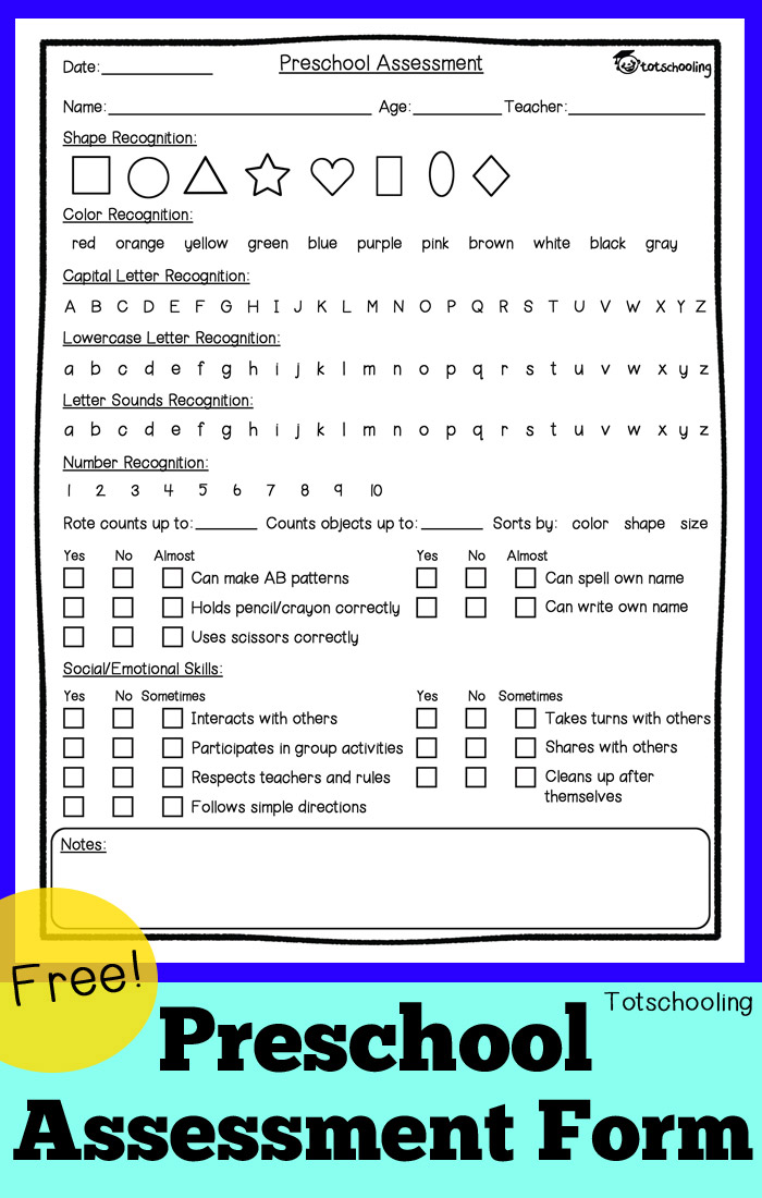 Free Preschool Assessment Form + Mother Goose Time Preschool